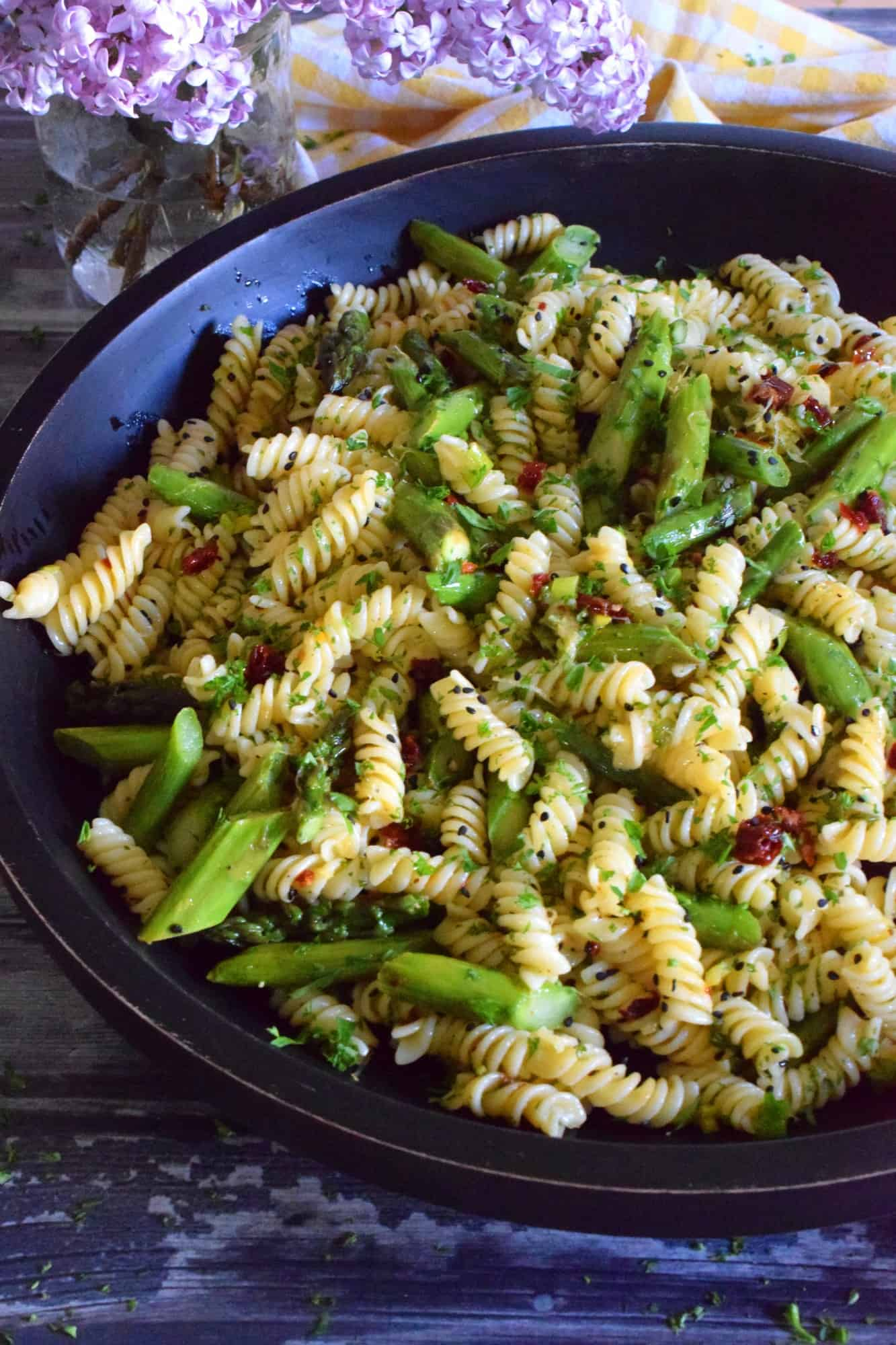 Roasted Asparagus Lemon Butter Pasta Salad