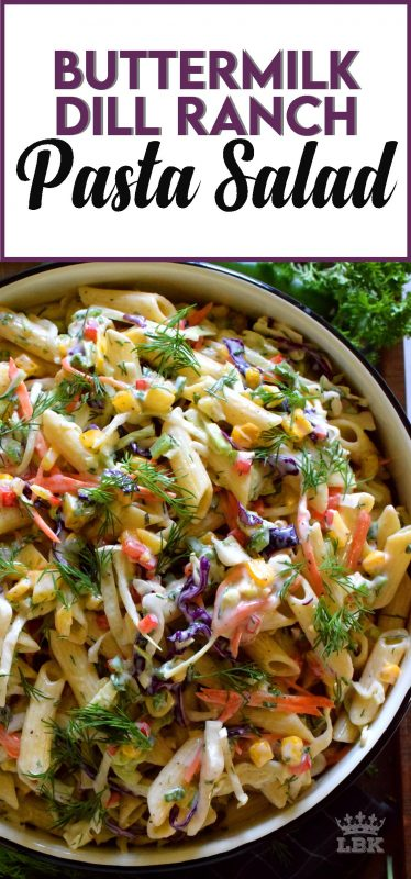 Buttermilk Dill Ranch Pasta Salad has a creamy homemade dressing, perfectly cooked pasta, loads of freshly chopped veggies, and enough flavour to knock your socks off!#dill #ranch #pasta #salad #summer #picnic #buttermilk