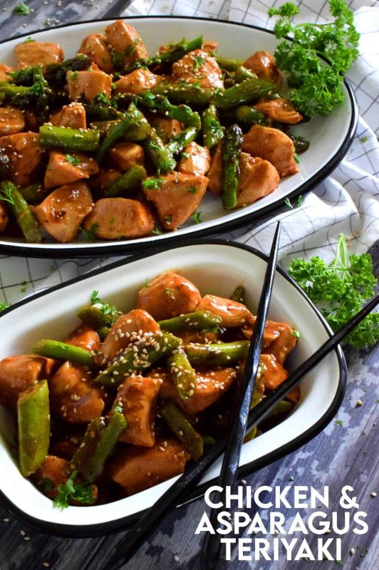 Tender chunks of seasoned chicken breasts sauteed with fresh asparagus in a homemade teriyaki sauce - this healthy dinner is quick, easy, and delicious!#asparagus #chicken #teriyaki #sauce #stirfry #skillet #breasts