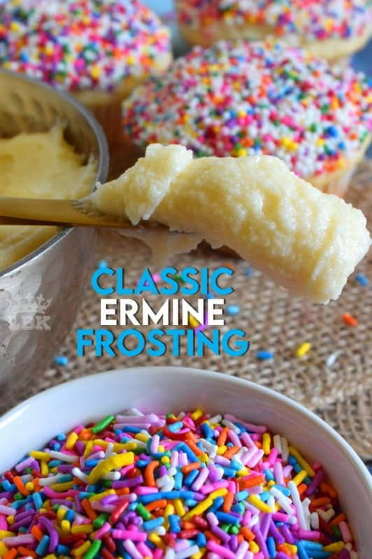 An old fashioned dessert topping with a million names; Classic Ermine Frosting is made by boiling flour and milk and whisking in butter, sugar, and vanilla extract.#frosting #icing #ermine #classic #boiled #flour #milk #homemade