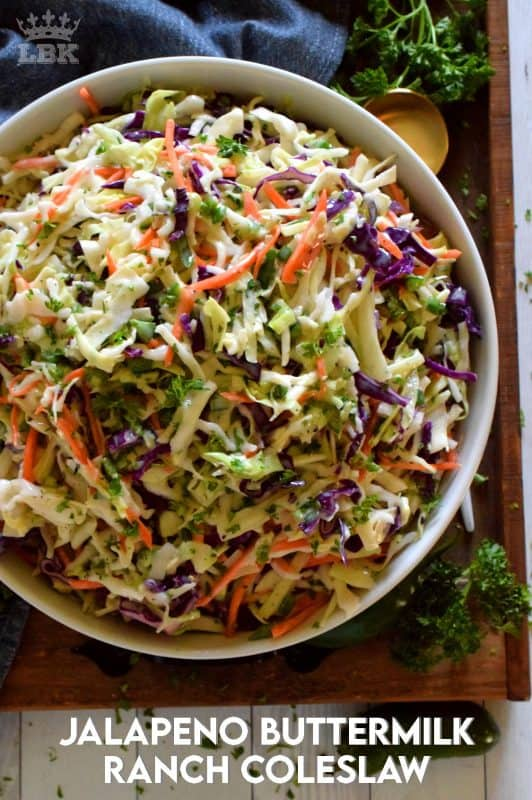 Prepared with fresh vegetables that have been tossed in a homemade dressing and seasoned just right, Jalapeno Buttermilk Ranch Coleslaw is a great side anytime!#buttermilk #ranch #coleslaw #salad #jalapeno