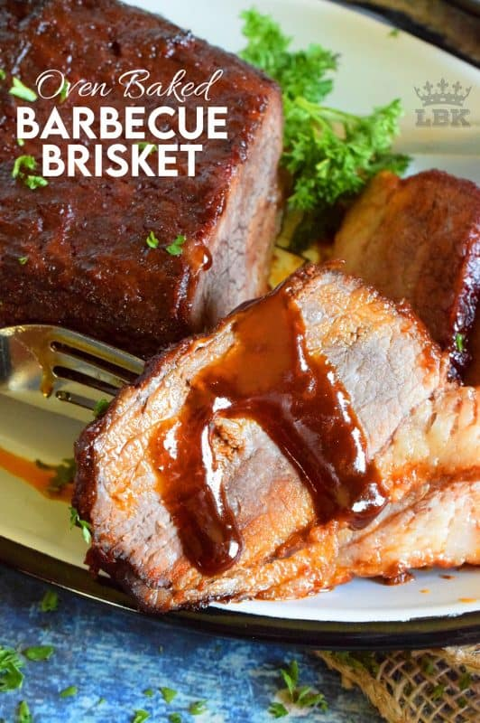 Perfectly seasoned with a homemade spice rub, and topped with your favourite sauce, Oven Baked Barbecue Brisket is the easiest and most rewarding way to prepare this cut of beef.#brisket #beef #oven #baked #bbq #barbecue