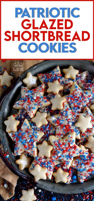 A classic, old-fashioned shortbread recipe that has been festively decorated and garnished to create these beautiful Patriotic Glazed Shortbread Cookies. #patriotic #4thofjuly #independenceday #baking #redwhiteandblue #redwhite&blue #cookies #sprinkles #shortbread