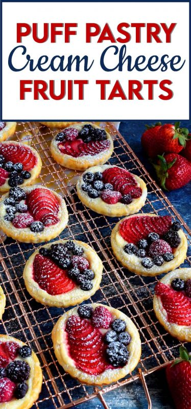 Turn store-bought puff pastry into delightful little tarts with fresh fruit and a lemony cream cheese filling; try eating just one!#puffpastry #berries #4thofjuly #recipes #summer #creamcheese #tarts #tartlets #fruit