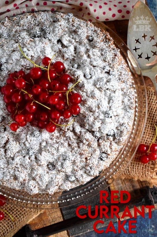 A very simple and rustic cake with a moist center and a crumbly topping. Red Currant Cake is an easy and gorgeous summer dessert! Easily prepared with fresh currants during harvesting season, or with frozen currants throughout the winter months! #red #currant #cake #crumb #topping #currants #redcurrants #coffeecake