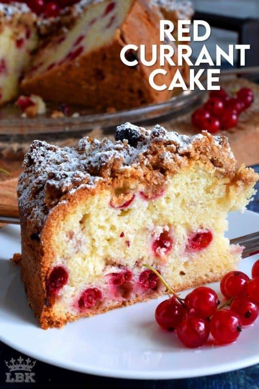 A very simple and rustic cake with a moist center and a crumbly topping. Red Currant Cake is an easy and gorgeous summer dessert! #red #currant #cake #crumb #topping