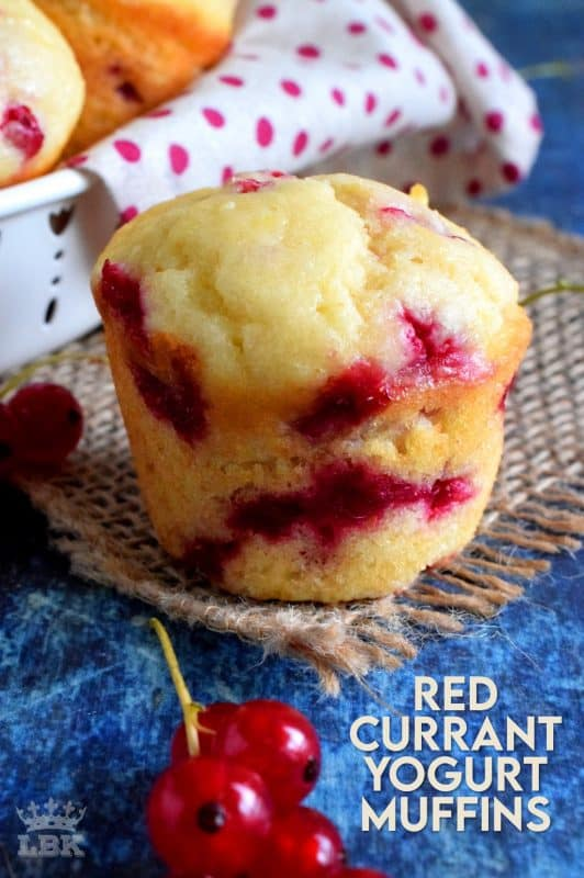Light and fluffy Red Currant Yogurt Muffins are sweet and tart, and soft and moist. These are a great breakfast or brunch menu item. #red #currant #fresh #berry #muffins #yogurt
