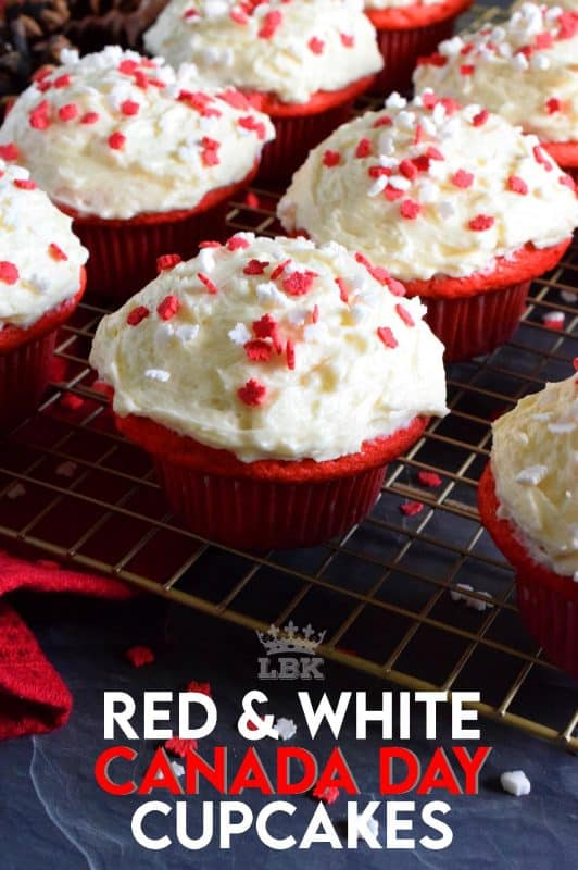 These cupcakes are red and white for Canada Day! Prepared with a vanilla base and a delicious homemade ermine frosting, these are going to be a hit! #canadaday #canada #redandwhite #red #white #cupcakes #dessert #sprinkles