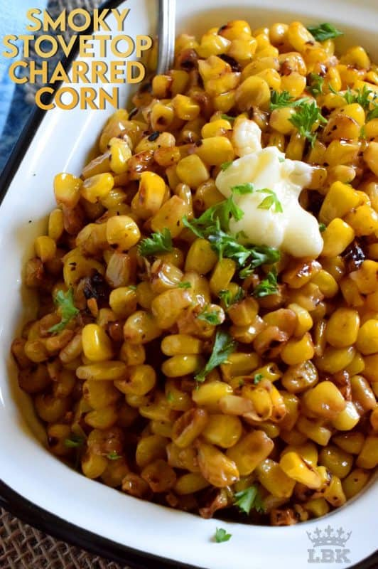 Side dishes do not need to be fancy to be impressive and delicious.  For example, Smoky Stovetop Charred Corn has only four ingredients and takes less than ten minutes!#smoky #charred #frozen #corn #stovetop #sidedish