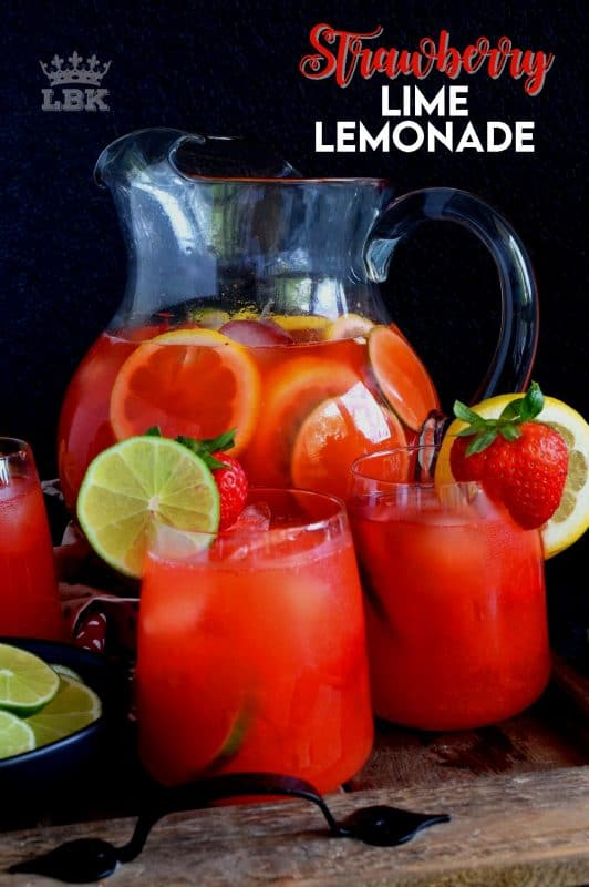 A refreshing summer drink made with simple syrup, whole strawberries, lime and lemon juice.  Plain lemonade cannot beat this!#strawberry #lime #limeade #lemonade #juice #summer #drink #punch
