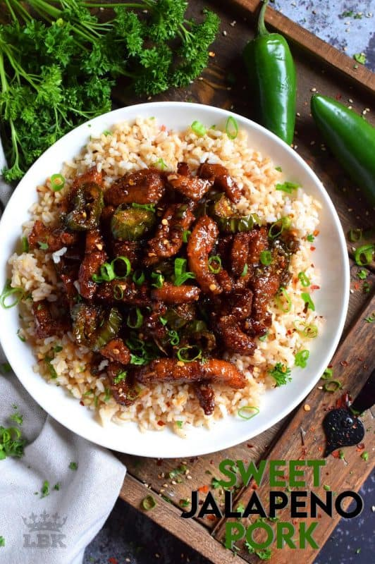 Thinly sliced pork and fresh jalapenos, fried until crispy, and coated in a garlicky spice sauce; Sweet Jalapeno Pork is an inexpensive dinner the whole family will love!#pork #jalapeno #sweet #spicy #whatsfordinner