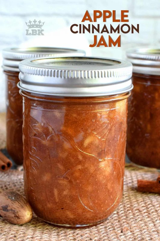 The taste of autumn captured and preserved in a simple to prepare jam. Apple Cinnamon Jam is a jam that tastes like a dessert! #apple #jam #butter #cinnamon