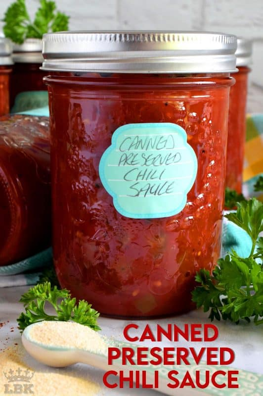 Always have a great tasting chili sauce with deep flavour on hand with this canned chili recipe. Just add beans and simmer! #canned #preserved #chili #sauce #tomatoes