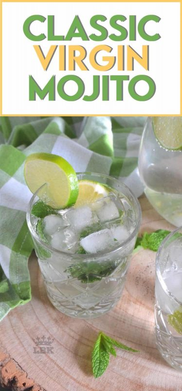 Packed with a strong mint flavour, this Classic Virgin Mojito is sure to keep you hydrated, cool, and refreshed all summer long!  Serve ice cold for best results! #classic #virgin #mojito #lime #lemon #nonalcoholic #summer #drinks
