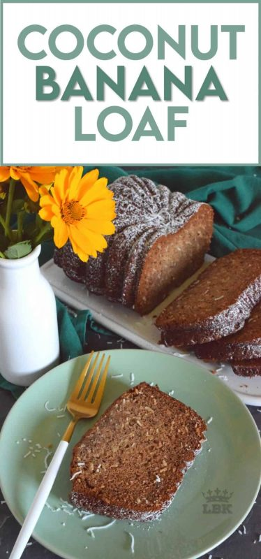 Coconut Banana Loaf combines two simple and inexpensive ingredients in the easiest and most delicious loaf ever!  All of this deliciousness is prepared using only a bowl and a spoon too! #coconut #banana #loaf #bread #onebowl
