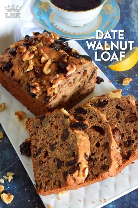 Best served with tea as an afternoon snack, Date Walnut Loaf is very moist with bursts of sweet chopped dates and crunchy walnuts.  Makes for a great gift idea, and can be easily frozen for later too!#dates #walnut #loaf #medjool #bread