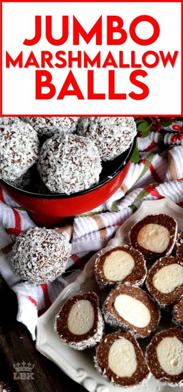 A popular Christmastime treat in Newfoundland, Jumbo Marshmallow Balls are cookies that make you feel as though you were eating candy. Serve whole or sliced, but best when frozen! #newfoundland #traditional #jumbo #chocolate #marshmallow #balls #christmas #nobake #holiday