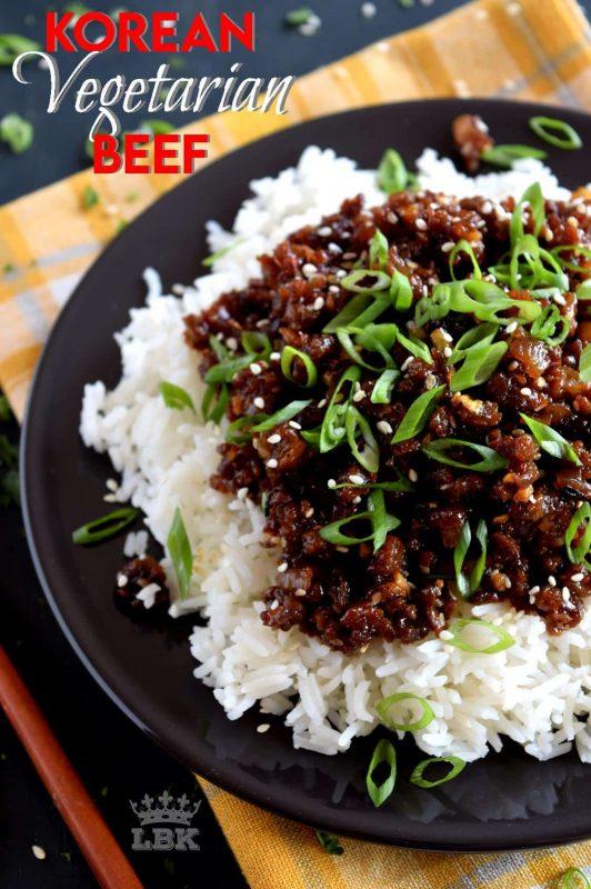 A vegetarian version of the popular bulgogi.  My version - Korean Vegetarian Beef - uses textured vegetable protein to achieve the same results as ground beef.  20 minutes start to finish! #korean #beef #bulgogi #vegetarian #TVP #crumbles