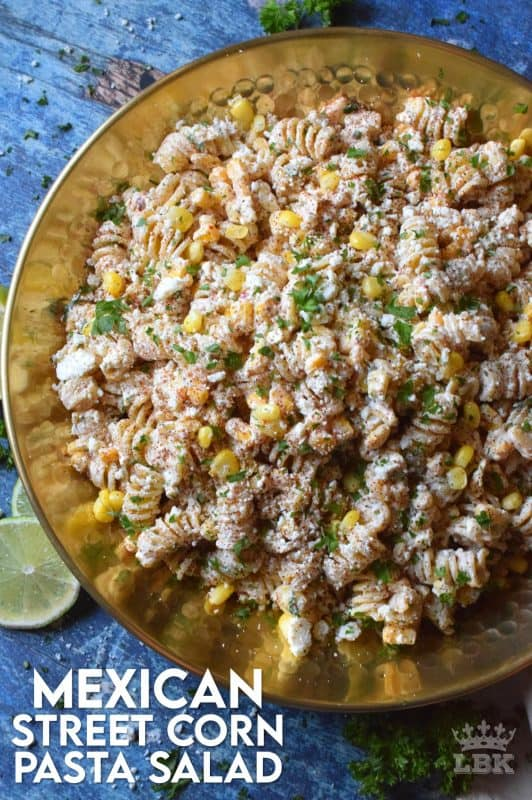 Creamy, refreshing, and cool, Mexican Street Corn Pasta Salad is a great addition to any summertime meal.  With lots of zest and spice, you're sure to hear a lot of yums!#Mexican #streetcorn #corn #pasta #salad #summer #picnic #potluck