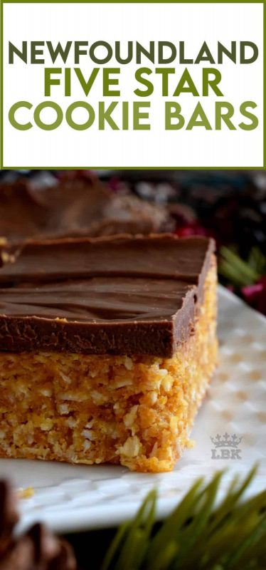 The deliciously simple Newfoundland Five Star Cookie Bars use the most inexpensive ingredients; this traditional confection earns a five star rating every single time! #newfoundland #five #5 #star #cookies #bars #christmas #holiday #nobake