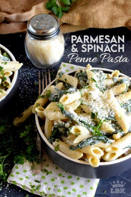 Parmesan and Spinach Penne Pasta is the ultimate creamy pasta lovers dream!  Loaded with parmesan and heavy cream, this pasta is a delightful, non-apologetic dish that provides so much comfort food happiness!#pasta #parmesan #spinach #penne #creamy #meatless