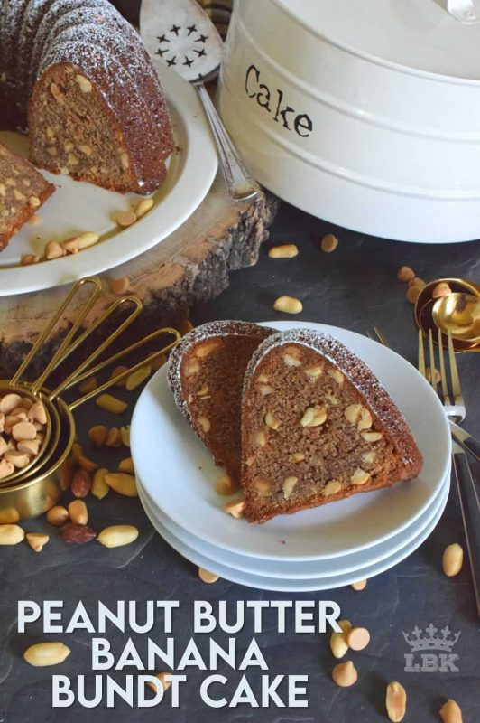 Some ingredients are meant to be eaten together and peanut butter with bananas are no exception.  Peanut Butter Banana Bundt Cake is very moist and loaded with peanuts and peanut butter chips too! #peanutbutter #peanut #butter #cake #peanuts #bundt #chips #baking