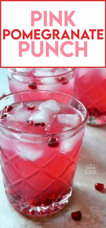 Summer requires lots of hydration and this Pink Pomegranate Punch is just the thing to quench your thirst. Easy, cheap, and delicious - what more could you want from a refreshing summer drink?#pomegranate #punch #pink #summer #drinks #virgin