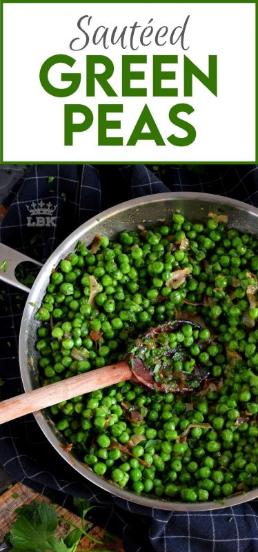 A side dish needn't be complicated and fussy; Sauteed Green Peas is a wonderful side to almost any meal! Just a few basic ingredients is all you need! #green #peas #side #dish