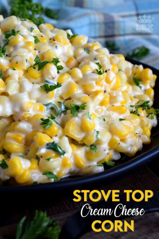 Easily transform frozen corn into the most delicious side dish in twenty minutes. Stovetop Cream Cheese Corn is side dish perfection! #stovetop #cream #cheese #corn #side #dish