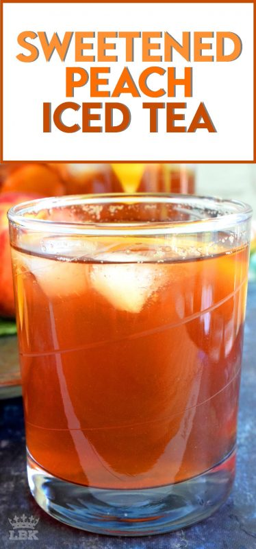 A few ingredients and a little patience is all you need to make a pitcher of Sweetened Peach Iced Tea - summer's favourite cold refresher!#icedtea #peach #summer #drink #iced #tea
