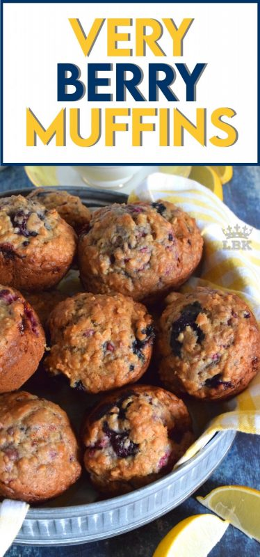 Is there anything as comforting as a homemade muffin?  With this muffin batter, you can add any berries you want to make you own version of Very Berry Muffins!#veryberry #berry #muffins #brunch