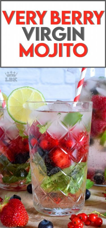 Cold, refreshing, and packed with fresh berries and mint, this Very Berry Virgin Mojito is sure to keep you hydrated and cool all summer long!#mojito #summer #drink #virgin #berry #sprite #diet