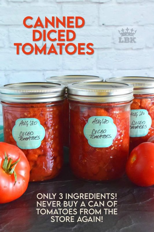 Many family recipes include Canned Diced Tomatoes.  Why not make your own with those local and fresh end of summer tomatoes?  They're very budget friendly and tastes so much better! #canning #canned #preserved #tomatoes #diced