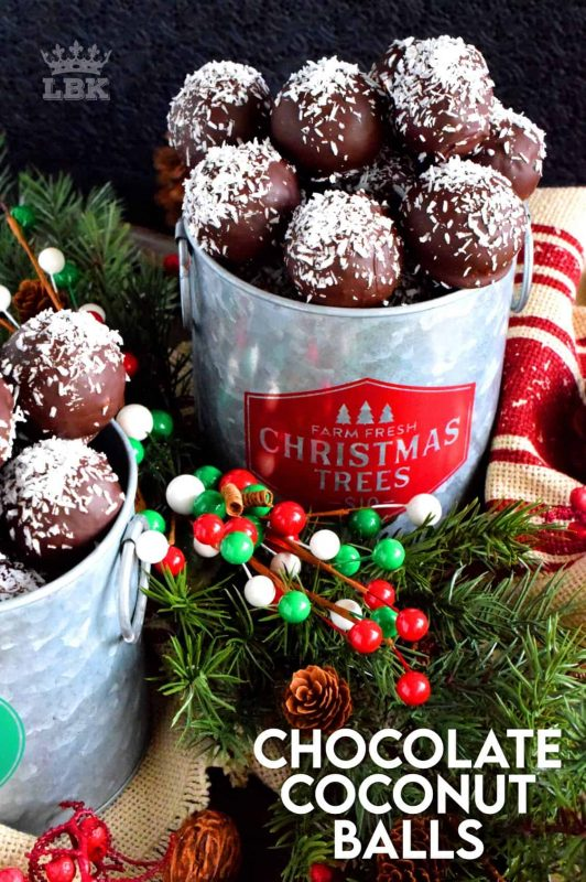 A sweet, moist, coconut and vanilla flavoured center, covered in a chocolate coating, Chocolate Coconut Balls are an easy, no-bake holiday favourite! #christmas #holiday #coconut #chocolate #balls #nobake