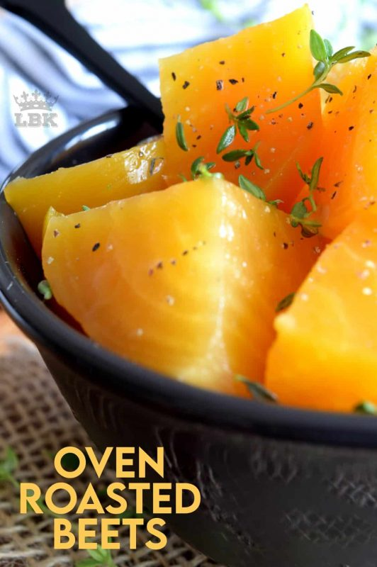 A fall dinner table needs to have beets, and these Easy Oven Roasted Beets are just the side dish you need to brighten up your Thanksgiving or Christmas family meal.  Infused with fresh thyme, these beets add the perfect touch of sweetness to your dinner plate. #beets #oven #roasted