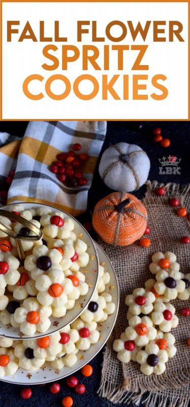 With the help of M&M candy and a cookie press, these spritz cookies look very much like a fall flower arrangement when piled high onto a serving plate. #thanksgiving #fall #cookies #press #spritz #M&Ms