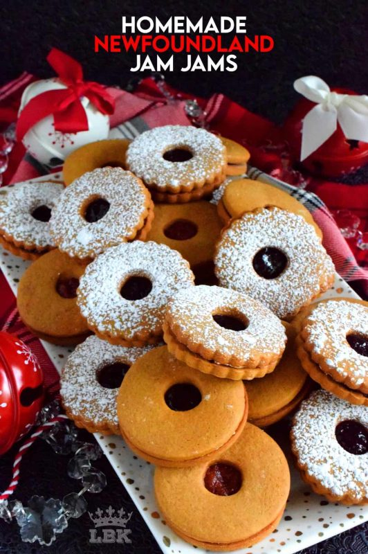 Traditional food – the food we grew up eating – always tastes better at Christmastime.  Homemade Newfoundland Jam Jams, a molasses and jam sandwich cookie, is no exception! #traditional #newfoundland #christmas #holiday #baking #recipes #jam #jamjams #purity