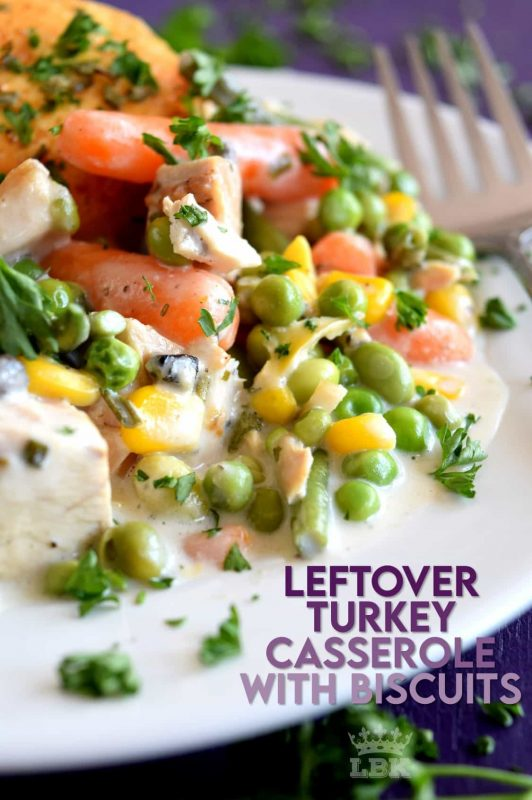 A homey casserole was never this easy! Use leftover turkey and store-bought biscuits to prepare this hearty dish the whole family will love! #leftover #turkey #recipes #casserole #pillsbury