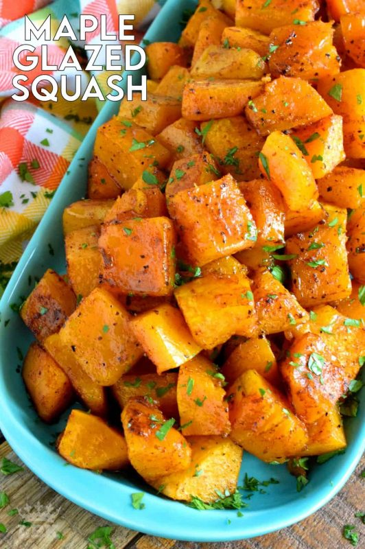 Maple syrup and roasted root vegetables go together like bread and butter. If you need proof, try this Maple Glazed Squash. Using a total of five ingredients, squash is transformed into a fall side dish worth its weight in gold! #roasted #butternut #squash #maple #syrup #glazed