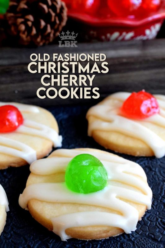 Old Fashioned Christmas Cherry Cookies are sugary, buttery, shortbread cookies, topped with royal icing and a festive candied cherry center. #shortbread #cookies #christmas #holiday #baking #cherry #oldfashioned #glazed