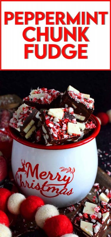 Chocolate and peppermint go together like bread and butter.  Peppermint Chunk Fudge is the perfect unison of them both; consider this fudge recipe a gift from me to you! #christmas #holiday #fudge #nobake #peppermint #candycane #recipes