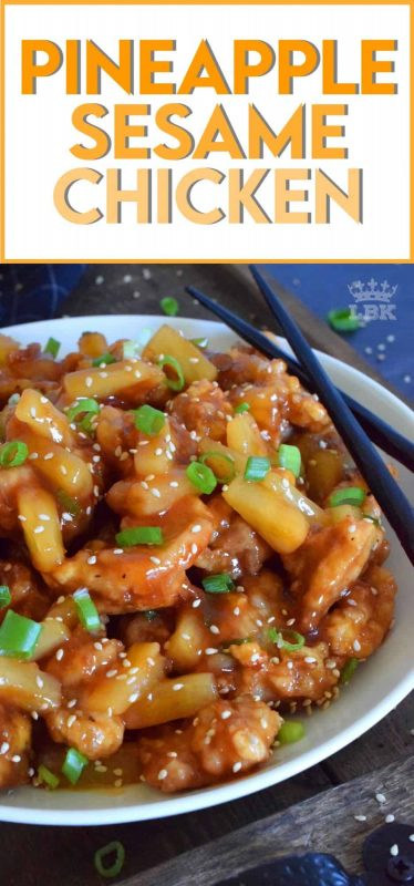 Pineapple Sesame Chicken is a little sweet and a little sour.  It's prepared with boneless, skinless chicken thighs, pineapples and pineapple juice.  Finished with toasted sesame seeds and green onions, this dish is completely delicious! #pineapple #chicken #chinese #asian #cooking #homemade #takeout