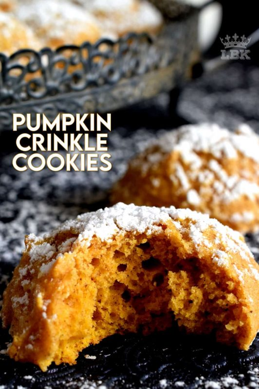 If you're looking for a soft, chewy, moist, pillow-y, pumpkin spiced cookie, then you've come to the right place! Pumpkin Crinkle Cookies are all of those things and more - like, delicious and addictive! #pumpkin #crinkle #cookies #pumpkinspice #spice