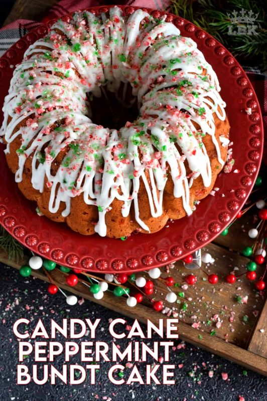 Peppermint is a dominant Christmastime flavour, so this candy cane bundt cake has a lot of it, and it's glazed too! Use crushed candy canes as garnish!