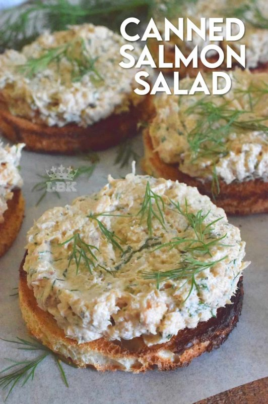 Canned Salmon Salad never tasted this good before! Prepared with lots of fresh dill and liberally smeared onto toasted bread, this is one open-faced sandwich I could eat again and again! #canned #salmon #salad #sandwich