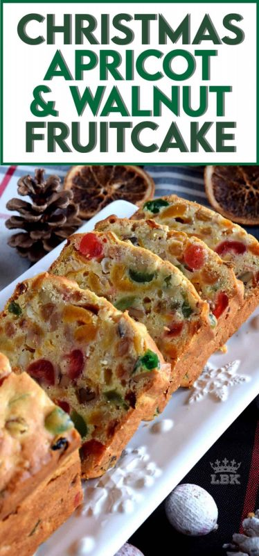 A common Christmastime tradition is fruitcake, and there's so many varieties to choose from.  My version is free of alcohol and loaded with both candied and dried fruit, as well as walnuts.  Christmas Apricot and Walnut Fruitcake just might be your new favourite Christmas tradition! #fruitcake #loaf #nuts #dried #fruit #apricot #christmas #cake #baking #candied