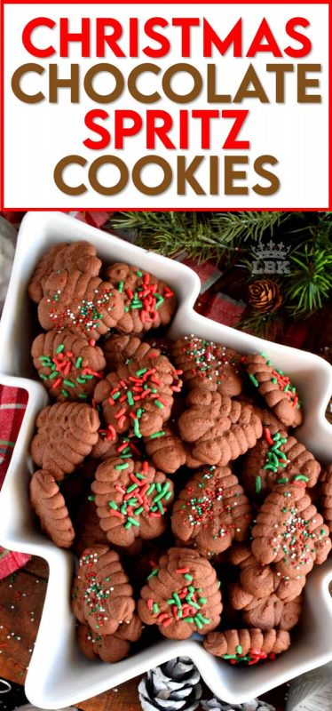 When it comes to baking with the purpose of gift giving, a Christmas cookie spritz is the best way to go, especially if they're chocolate! #spritz #cookies #press #holiday #christmas #chocolate #baking