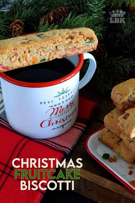 Christmas Fruitcake Biscotti is the best of both worlds! There's that crunchiness we all love about biscotti, with the chewiness of all of that mixed candied fruit! #fruitcake #biscotti #cookies #christmas #holiday #baking