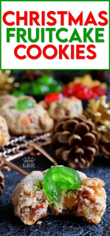 These sugar-coated cookies are a great way to pack the flavour and texture of a Christmas fruitcake into a beautiful holiday cookie! #fruitcake #cookies #christmas #holiday #baking