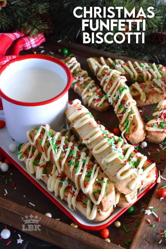 Bring out the kid in you with this festive Christmas Funfetti Biscotti recipe. Drizzled with melted white chocolate, this is a gorgeous gift-able treat everyone on your Christmas list will love! #funfetti #biscotti #christmas #holiday #baking #sprinkles